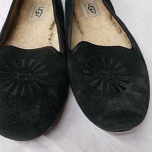 Ugg flats-black leather flats-Size 7